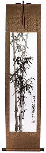 New Chinese Bamboo Silk Wall Scroll