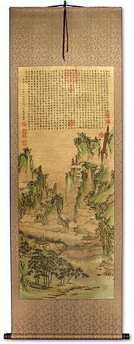 Immortal Mountain Village<br>Asian Landscape Print Wall Scroll