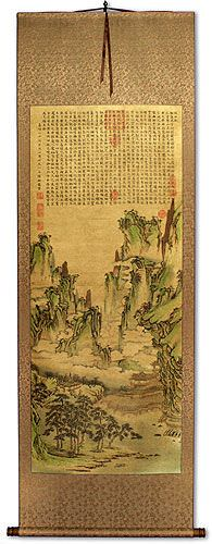 Immortal Mountain Pavilion Poetry<br>Asian Landscape Print Wall Scroll