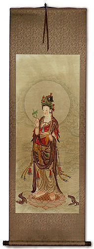 Image of Guanyin Buddha - Partial-Print Wall Scroll