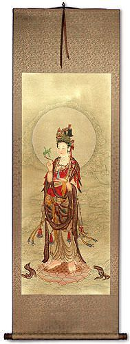 Guanyin Buddha - Partial-Print Wall Scroll