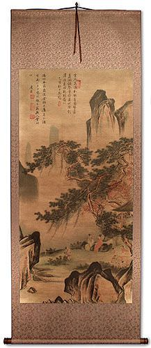 Happy Family<br>Chinese Landscape Print Wall Scroll