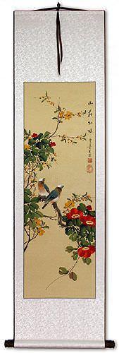 Mountain Flower Brilliance - Bird and Flower Wall Scroll