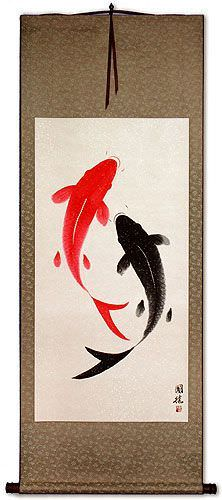 Large Yin Yang Fish<br>Chinese Wall Scroll