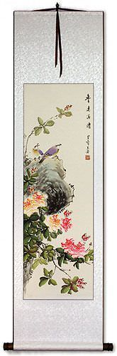 Fresh Breeze, Drifting Far - Bird & Flower Chinese Scroll
