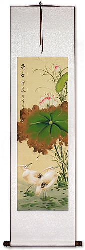 Lotus Scent Travels Far - Egrets and Lotus Wall Scroll