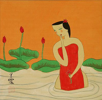 Asian Woman in the Lotus Pond<br>Modern Asian Art Painting