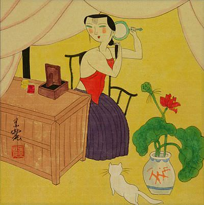 Chinese Woman Checking Hair<br>Modern Painting Painting
