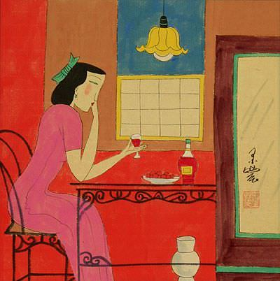 Woman Drinking<br>Chinese Modern Art Painting