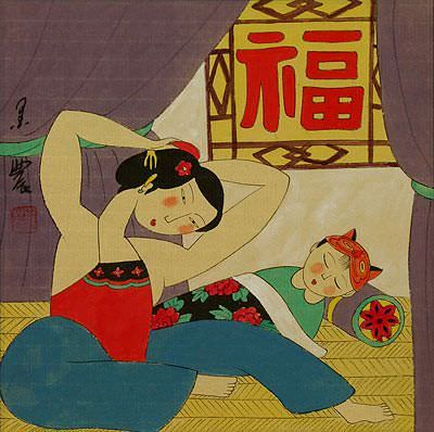 Chinese Mother and Baby Boy - Modern Art Painting