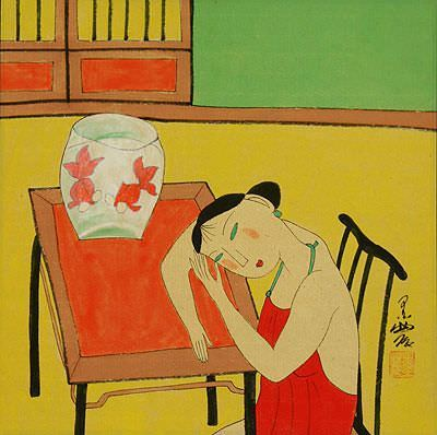 Asian Woman and Fish Bowl<br>Modern Asian Art Painting