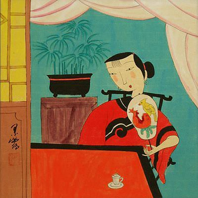 "See how ""Lady in Waiting -  Asian Modern Art Painting"" would look after being professionally framed"