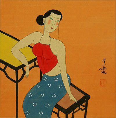 Sexy Chinese Woman<br>Asian Modern Art Painting