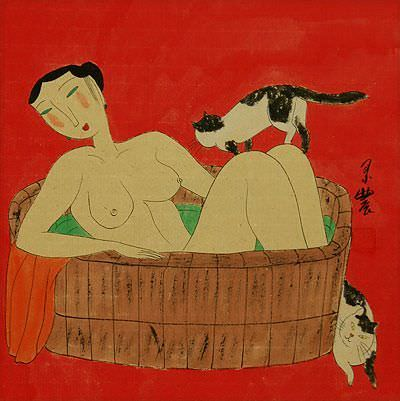 Chinese Lady in the Bath with Cats<br>Asian Modern Art Painting