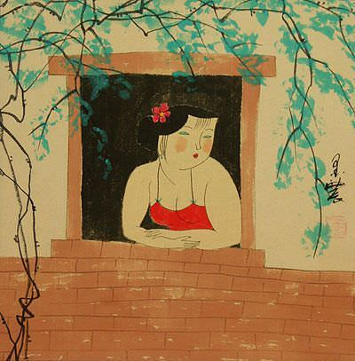 Chinese Woman at the Window<br>Modern Art Painting