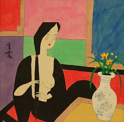 Asian Woman<br>After Bath<br>Modern Asian Art Painting