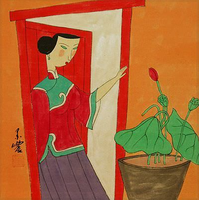 Asian Woman and Lotus Flowers<br>Modern Art Painting