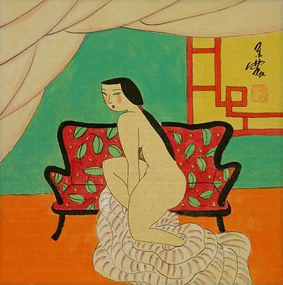 Hanging Out in the Nude<br>Oriental Modern Art Painting