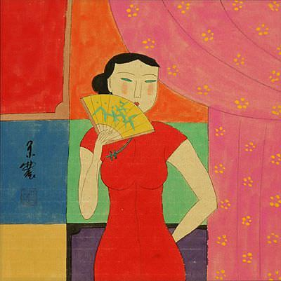 Asian Woman and Fan - Modern Art Painting