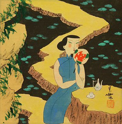 Chinese Tea by the Lily Pond<br>Modern Art Painting
