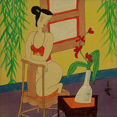 Hanging Out in the Nude with Flowers<br>Chinese Modern Art Painting
