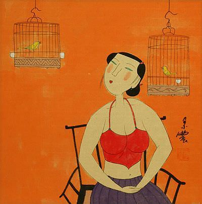 Chinese Woman and Bird Cages - Modern Art Painting
