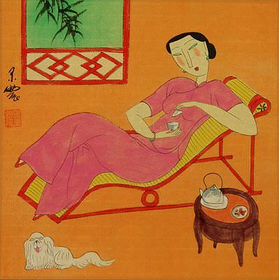 Chinese Woman and Dog<br>Modern Painting Painting