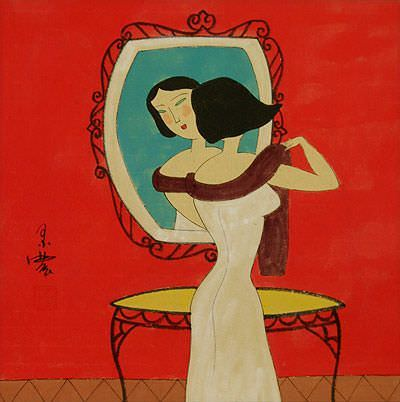 Elegant Woman Mirror Gazing - Modern Art Painting