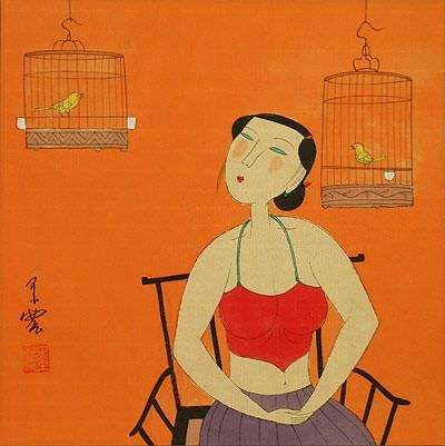 Woman and Bird Cages<br>Chinese Modern Art Painting