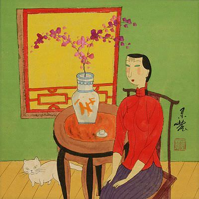 Chinese Woman and Cat<br>Modern Art Painting