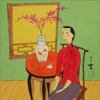 Chinese Woman and Cat - Modern Art Painting