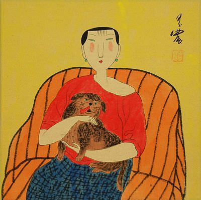 "See how ""Woman and Dog - Chinese Modern Art Painting"" would look after being professionally framed"