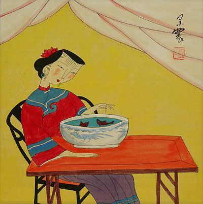 Asian Woman, Fish Bowl and Cat - Modern Art Painting