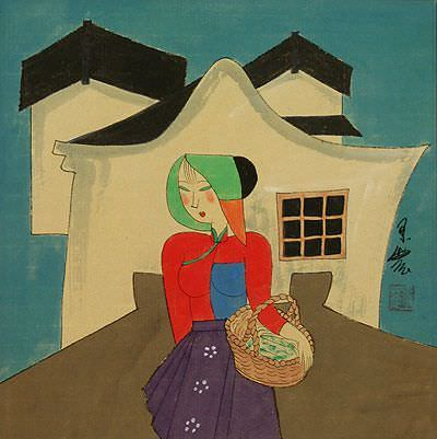 Asian Woman Carrying Laundry<br>Modern Art Painting