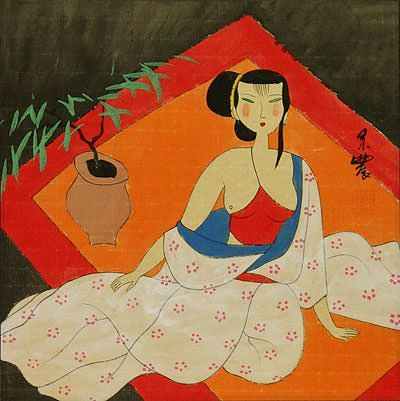 Semi-Nude Chinese Woman Relaxing<br>Modern Art Painting