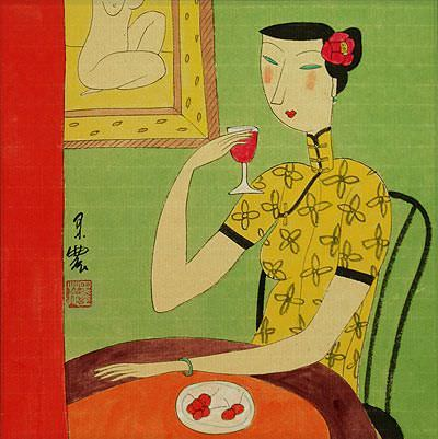 Chinese Woman Drinking<br>Modern Art Painting