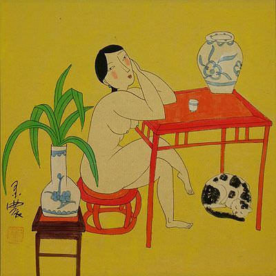 Hanging Out in the Nude<br>Chinese Modern Art Painting