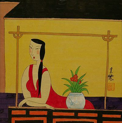 "See how ""Relaxing Woman - Chinese Modern Art Painting"" would look after being professionally framed"