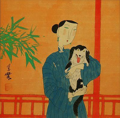 Chinese Woman and Dog<br>Modern Art Painting