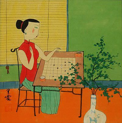 "See how ""Woman Playing Weiqi or Go - Modern Art"" would look after being professionally framed"
