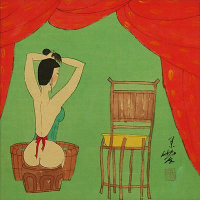 Lady Ready for Bath - Chinese Modern Art Painting