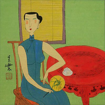 Woman Enjoys Tea<br>Chinese Modern Art Painting