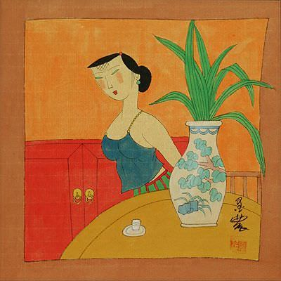 Sexy Asian Woman<br>Chinese Modern Art Painting