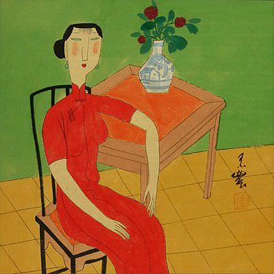 Woman and Flower Vase<br>Chinese Modern Art Painting