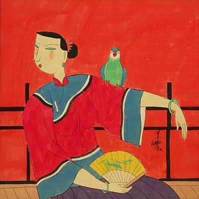 "See how ""Elegant Chinese Lady with Parrot - Modern Art Painting"" would look after being professionally framed"