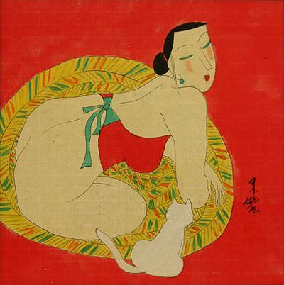 Hanging Out in the Nude with Cat - Modern Art Asian Painting