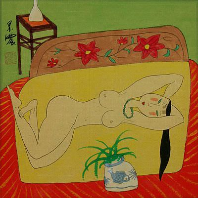 Nude Asian Woman on Bed - Modern Art Painting