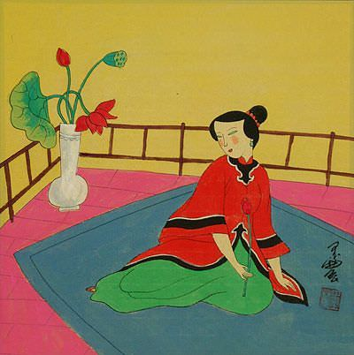 Lady in Waiting<br>Asian Modern Art Painting