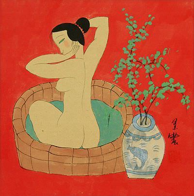 "See how ""Lady in the Bath - Chinese Modern Art Painting"" would look after being professionally framed"