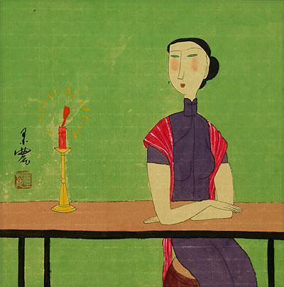 Chinese Woman and Candle - Modern Art Painting